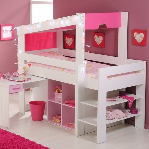 hochbett mona inkl himmel himmeldeko schreibtisch regale rosa spielbett bett 726 in m bel. Black Bedroom Furniture Sets. Home Design Ideas
