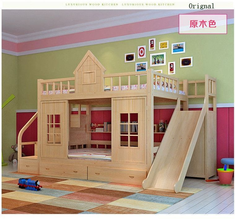 Wood Bunk Bed With Stairs And Slide Option Bed For Girls Room