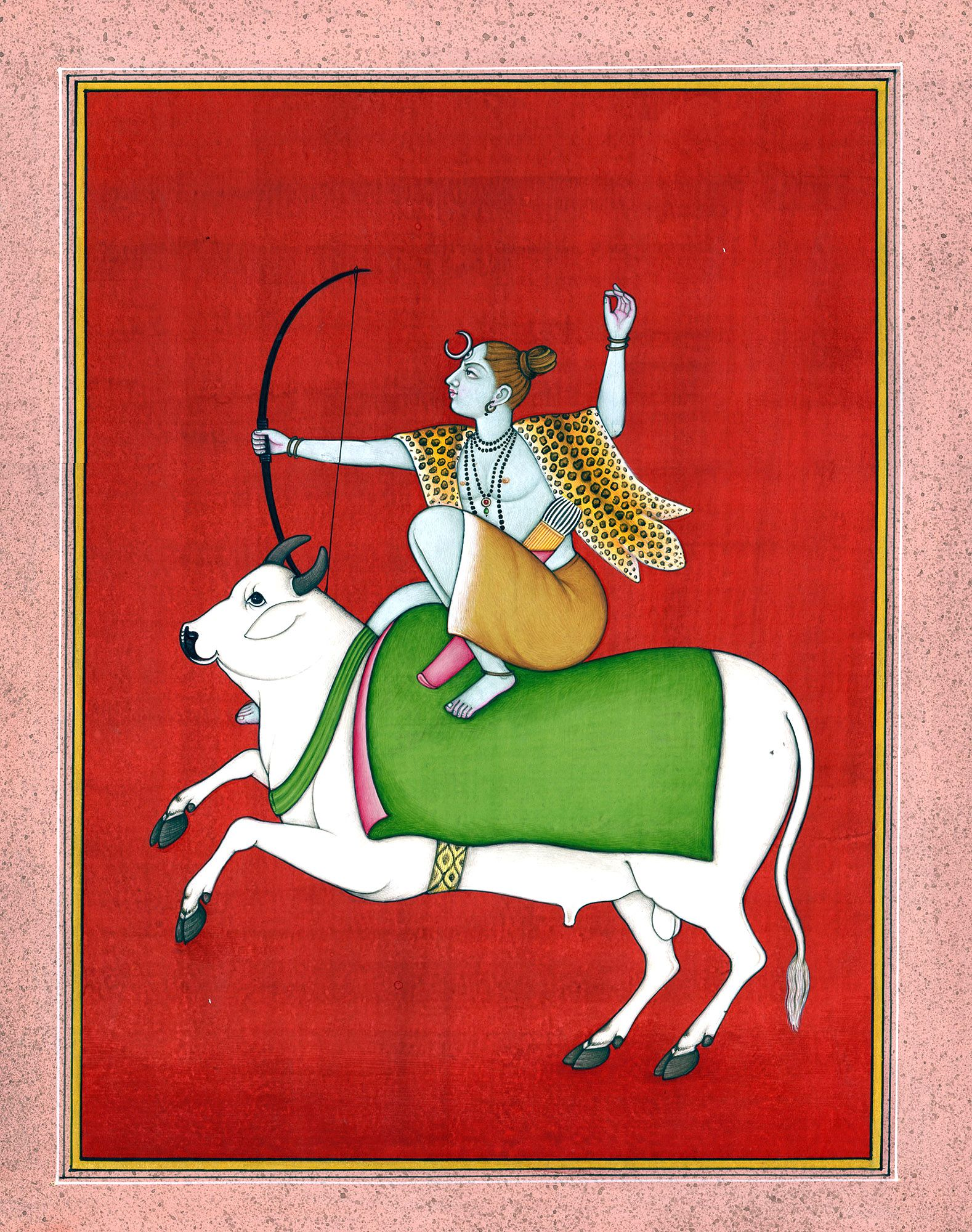 A Unique Painting Depicting Lord Shiva as an Archer Seated Astride Nandi