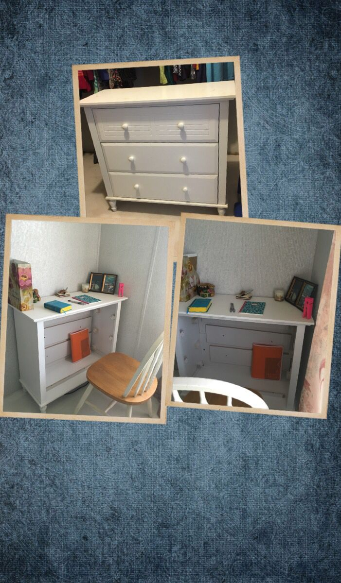 Turn an old dresser into a desk and save $ that would've gone to buy a new piece! +paint +screwdriver = done :D