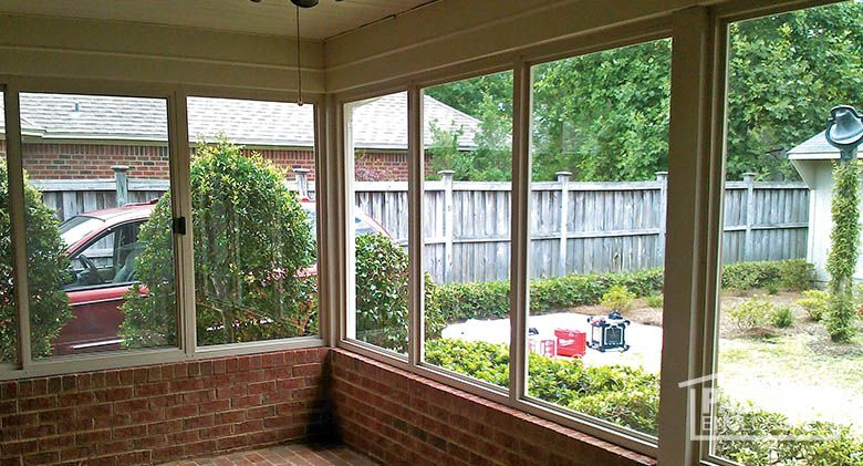 Porch Enclosure With Existing Brick Knee Wall And Foundation