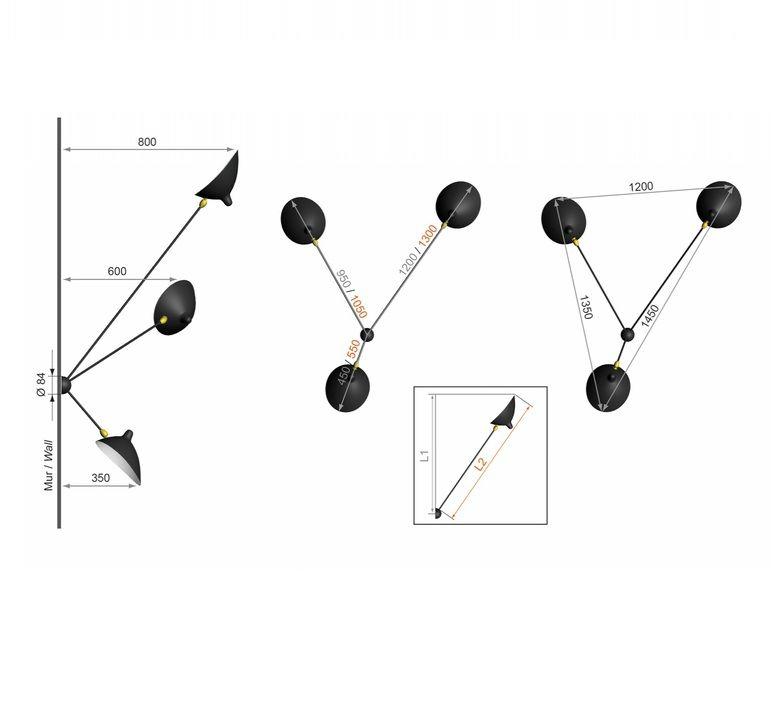 Applique murale Araignée 3 bras fixes noir H135cm Serge Mouille