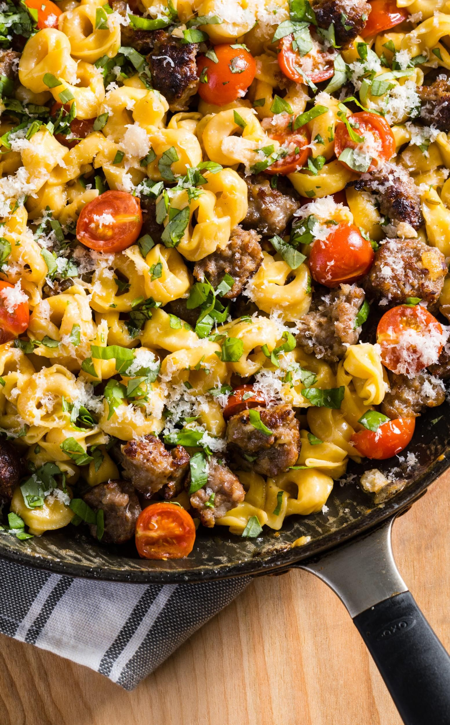 Skillet Tortellini With Sausage And Cherry Tomatoes A