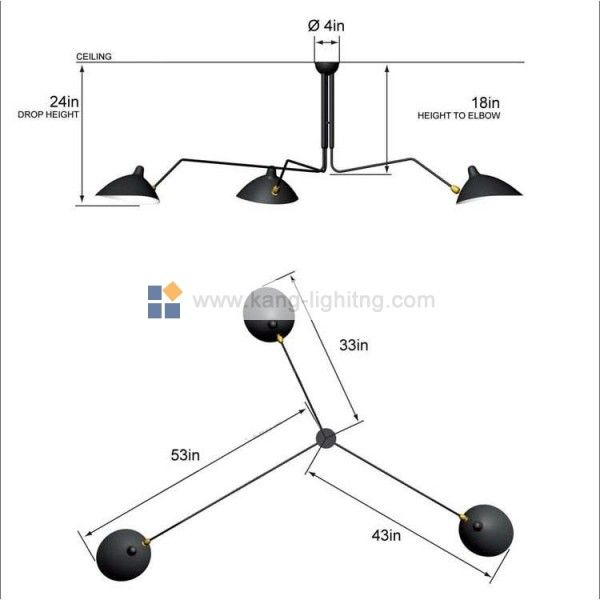ceiling lamps ceilings forward serge mouille three arm ceiling lamp. Black Bedroom Furniture Sets. Home Design Ideas