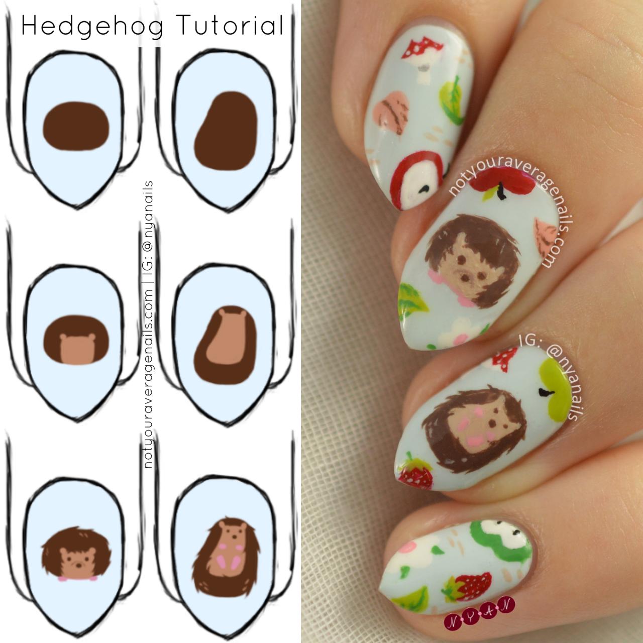 Hedgehog Nail Art Tutorial   N.Y.A.N. - Tutorials   Pinterest   Igel ...