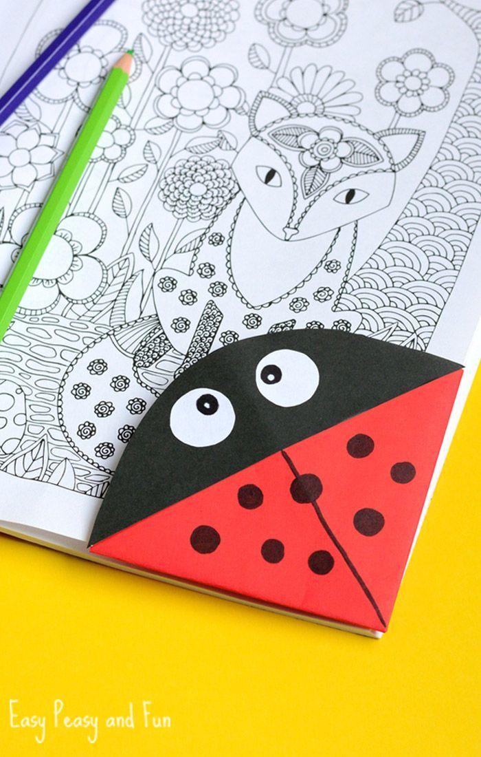 Ladybug Corner Bookmark - Origami for Kids - Easy Peasy and Fun                                                                                                                                                                                 More