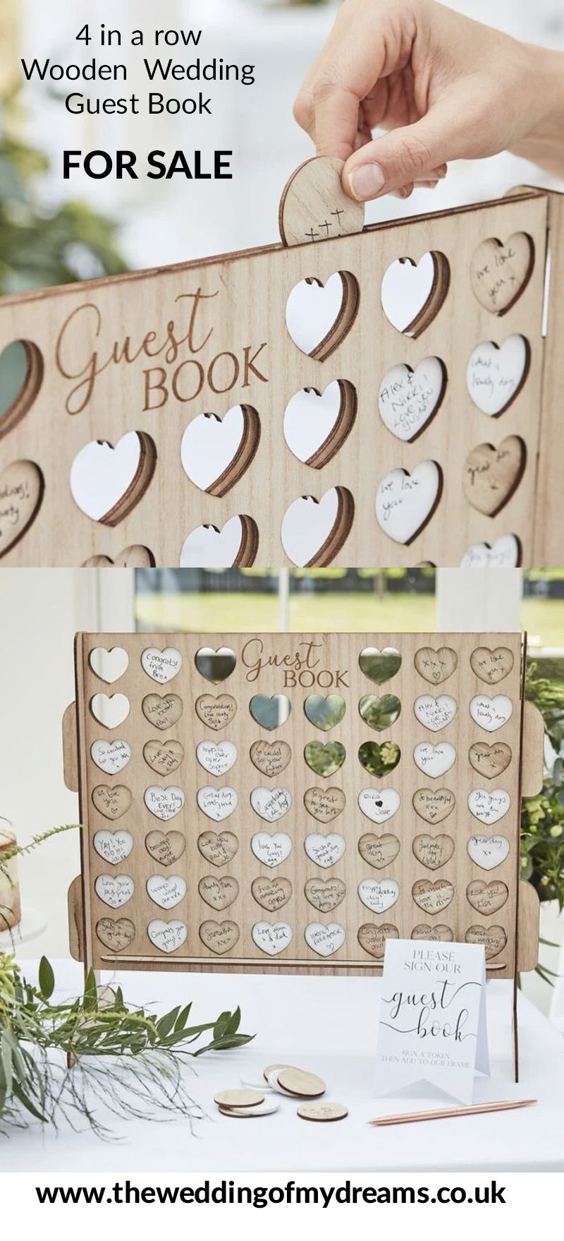 Wedding Guest Book Wooden 4 In A Row in 2020 Wedding