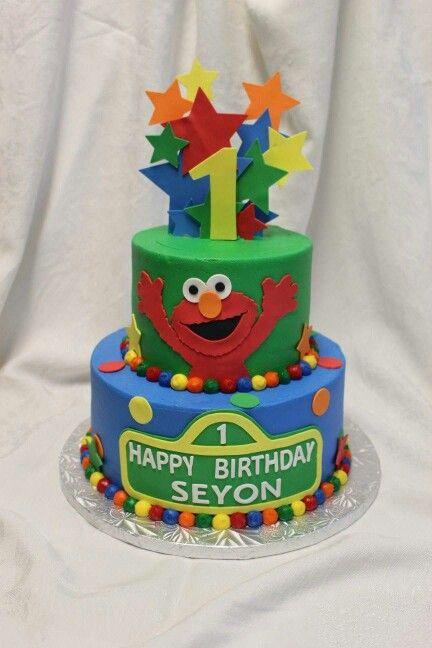 A Custom 2 Tier Elmo Birthday Cake Birthdaycake Kids