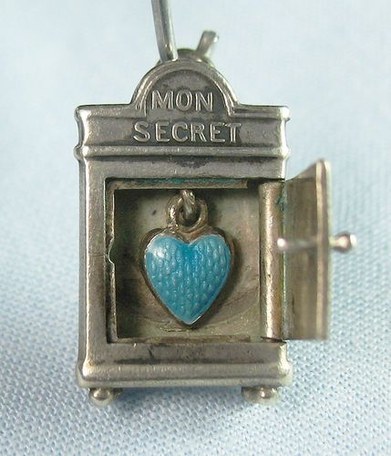 "Antique French Silver ""Mon Secret"" Charm Opens To Guilloche Enameled Heart"