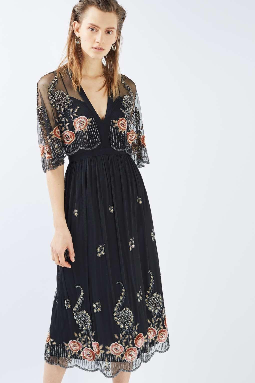 dc9de3c120 All Over Embellished Midi Dress - Dresses - Clothing