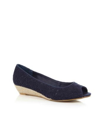 Wide Fit Navy Crochet Low Wedges