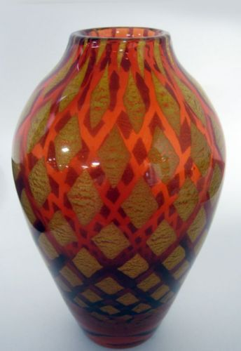 Rare Signed Moser Designer Gold Burnt Orange Air Trap Vase Circa