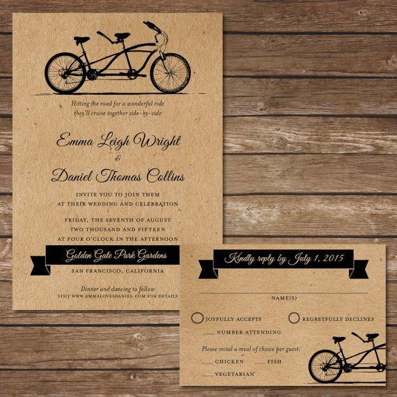 Printable Bicycle Wedding Invitation With Rsvp By Beyonddigital