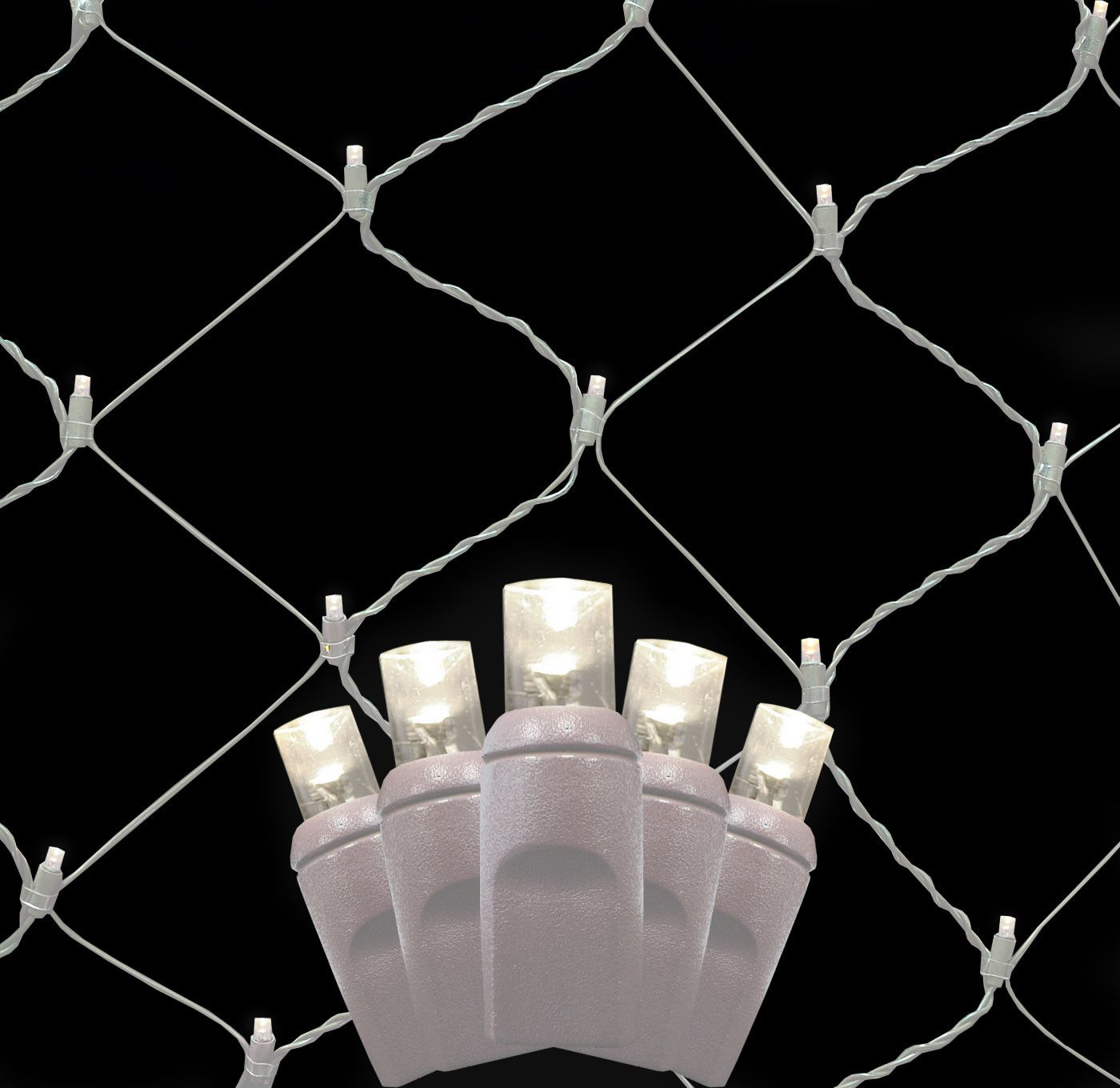 5MM 4\'x6\' Pure White LED Net Lights, White Wire | Net lights, White ...