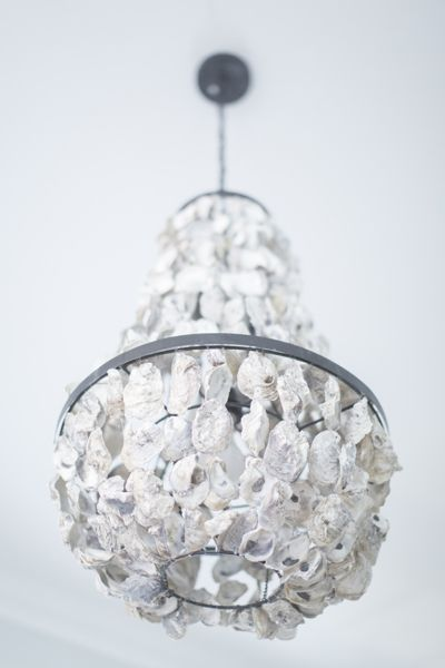 Southern newlywed at home with megan and josh oyster shell chandelier blueberry creative aloadofball Image collections