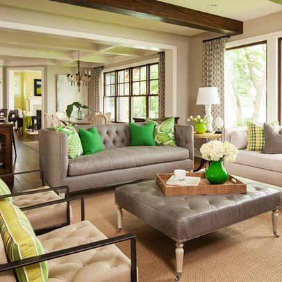 Green And Gray Living Room Ideas You Could Pop This Neutral Room With Any Accent Color Of Your Ch Living Room Green Living Room Grey Transitional Living Rooms