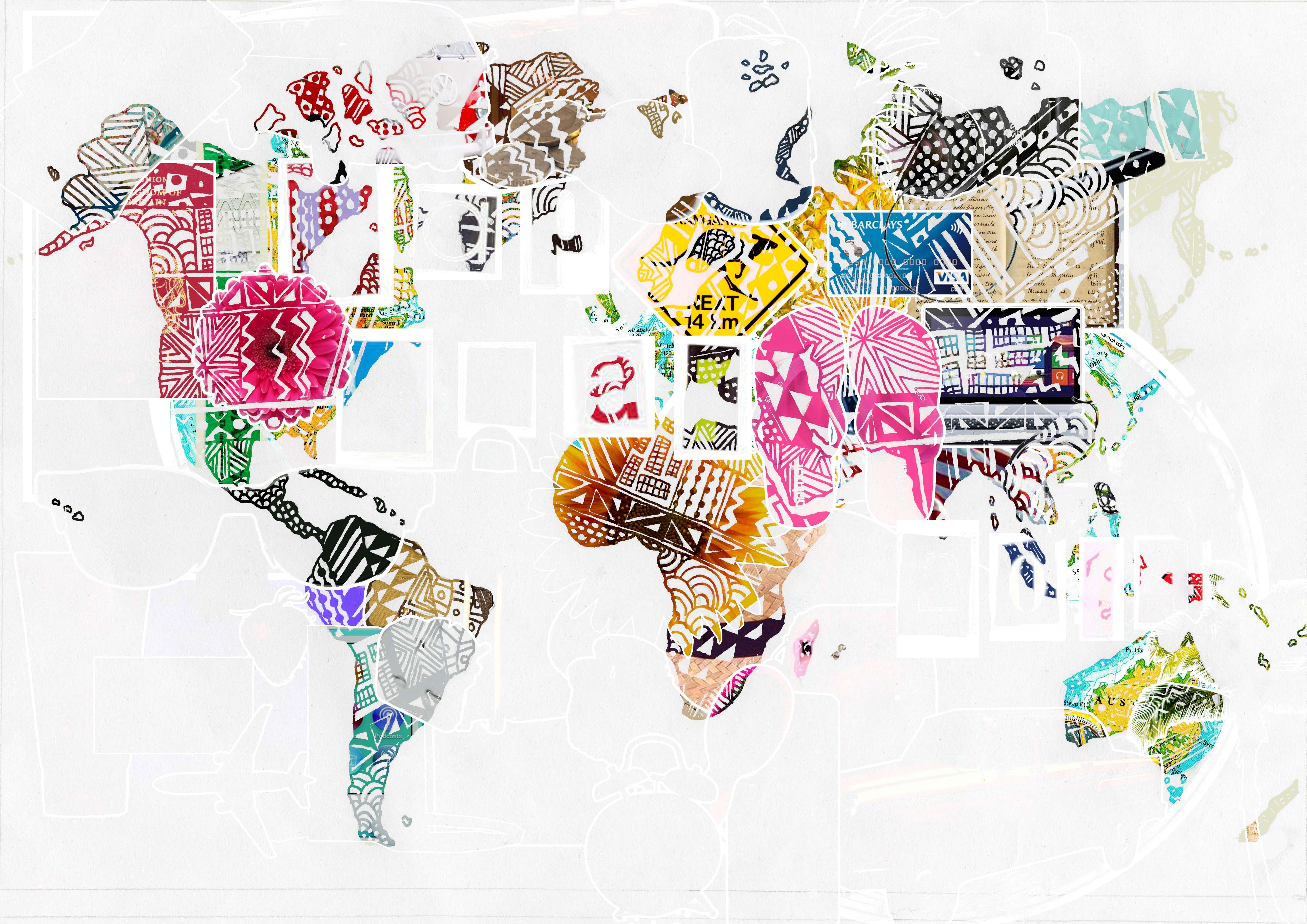 Manipulated world map with collage digital rough outcome for gap manipulated world map with collage digital rough outcome for gap year exam gumiabroncs Gallery