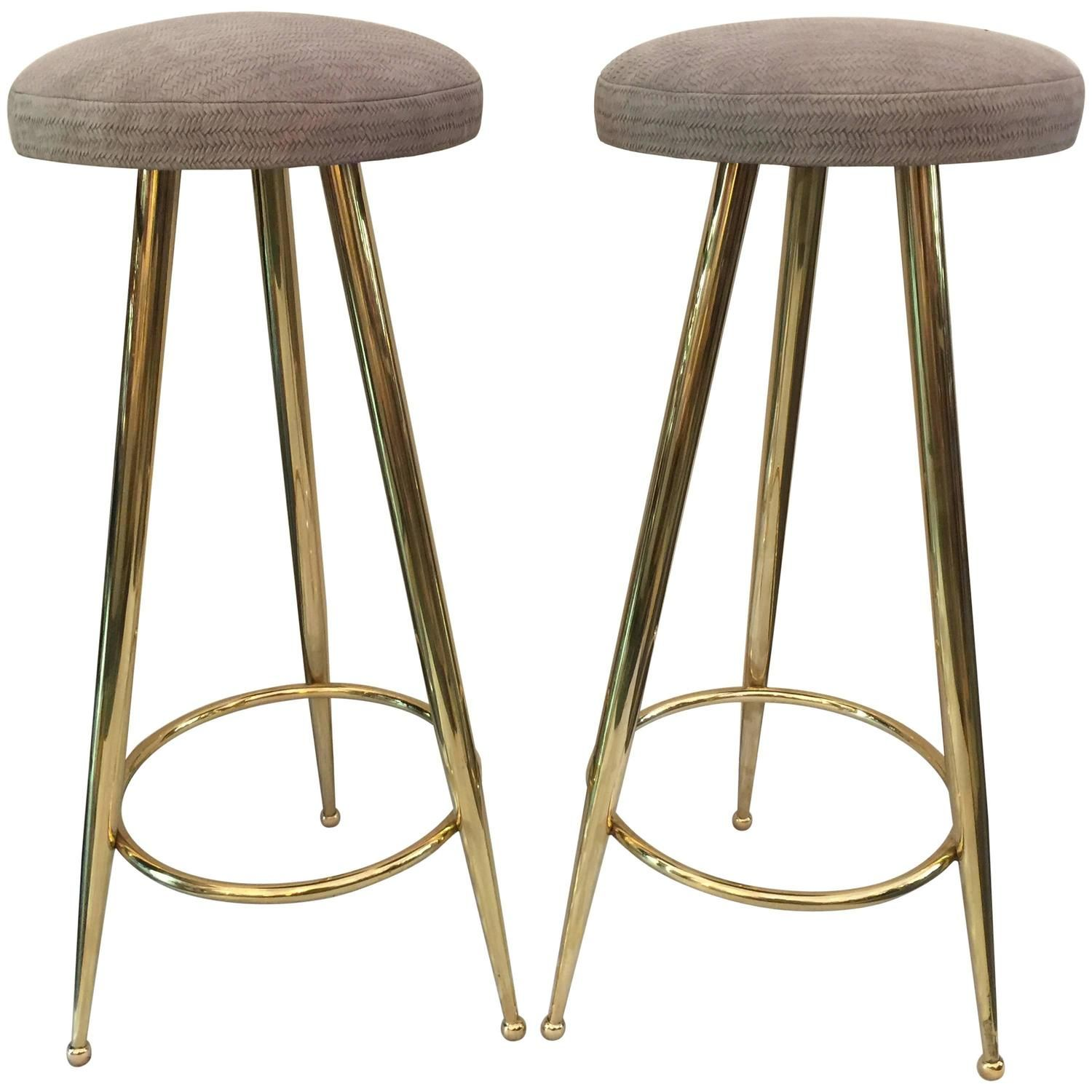 Pair Of Vintage Italian Brass Bar Stools Brass Bar Stools Bar