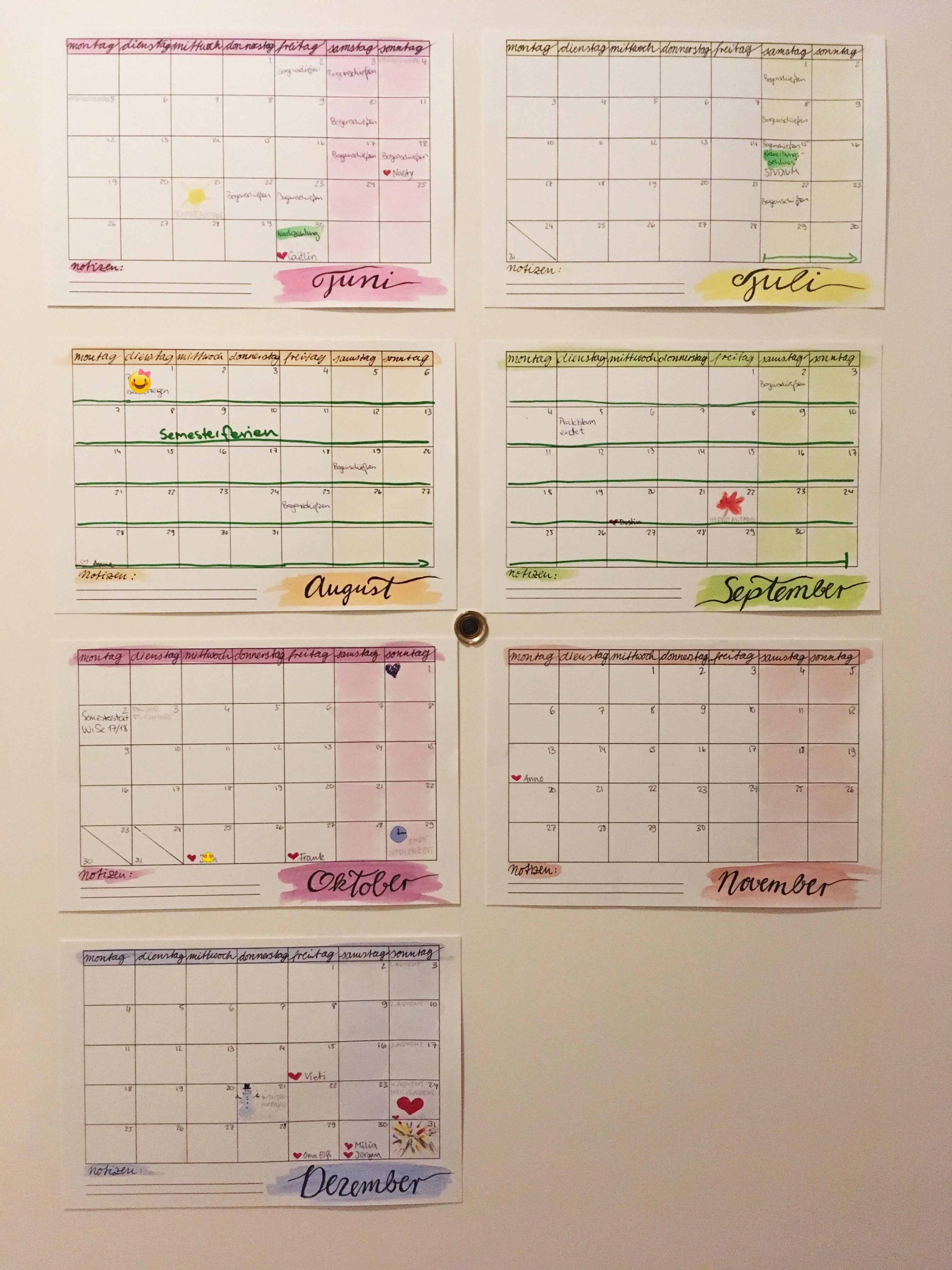 Wasserfarben Kalender DIY