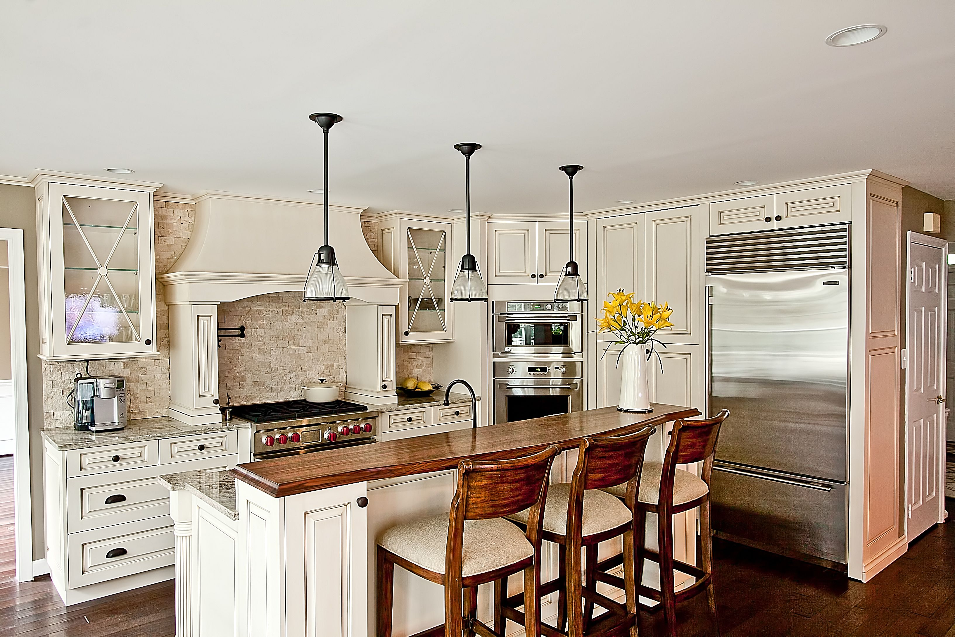 Spekva Wood Island Bar Top With Matching Chairs, Wolf Cooktop, Rohl Pot  Filler,