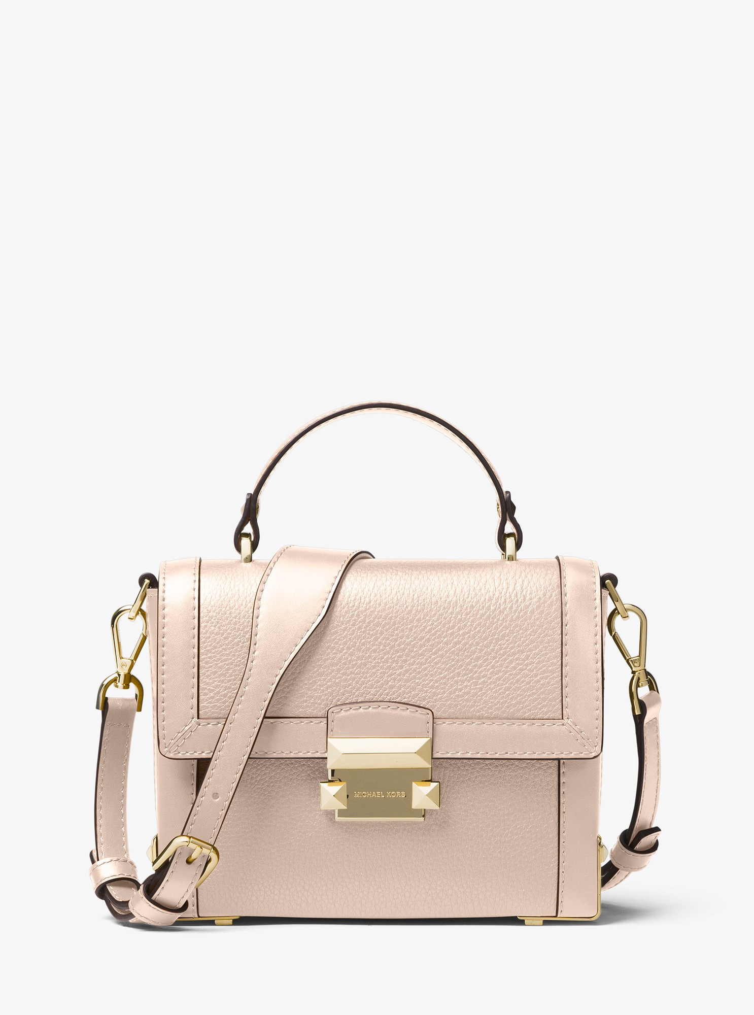 4d3ac7b856f Michael Kors Jayne Small Pebbled Leather Trunk Bag - Soft Pink ...