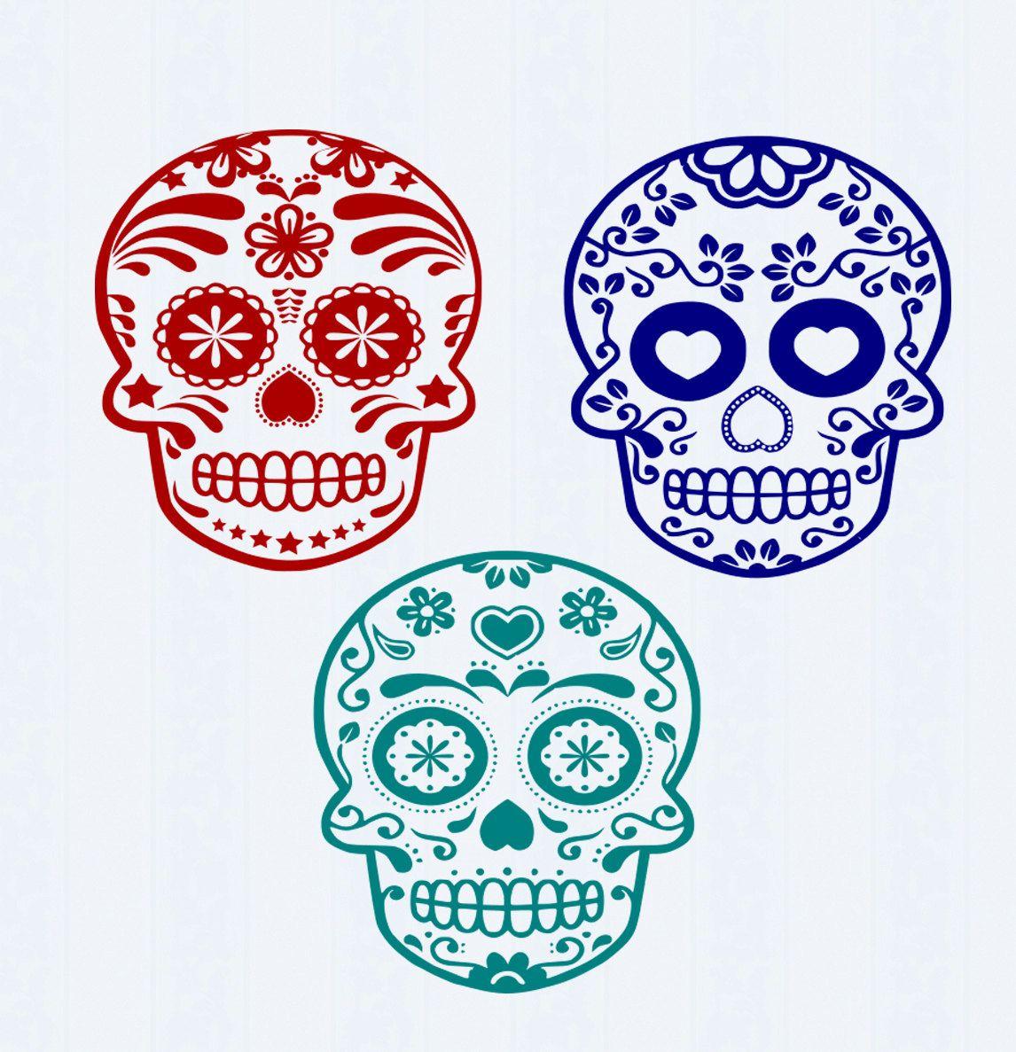 Sugar Skull SVG File-Day of the Dead SVG File Cutting File Set in ...