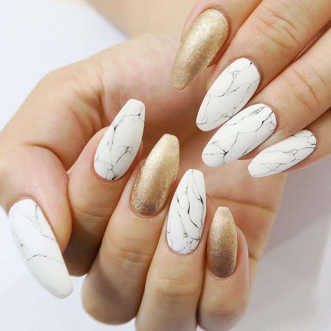 24 Beautiful marble affect nail art design - acrylic nail art designs #nail #nails #nailart #acrylicnail
