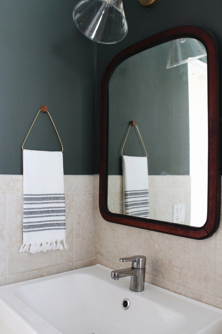 diy brass and wood towel holder  Hand towel holder, Bathroom hand