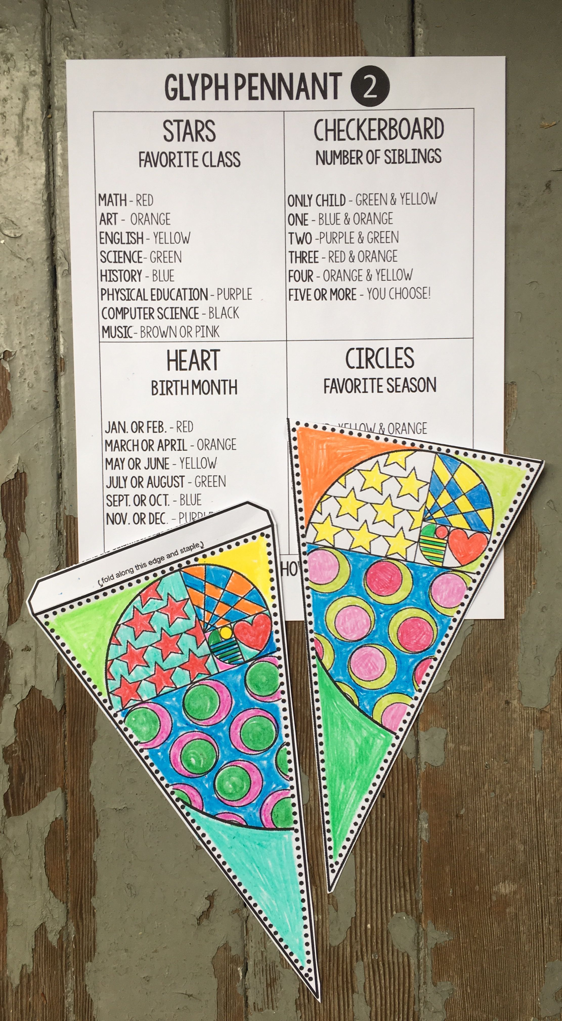 Back to School pennant: A Math GLYPH | Teaching!! | Middle
