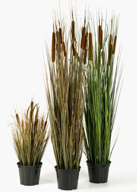 Artificial Cattail In Grower S Pots Grass Decor Faux
