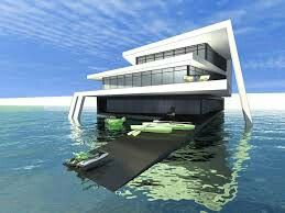 A house in the sea with some boats