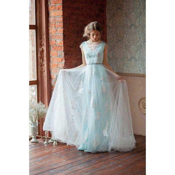 Glenny Aquamarine Wedding Dress Embroidered Shoulders Open Back Blue