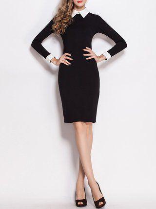 Black Sheath Work Elegant Plain Midi Dress Black White Suits