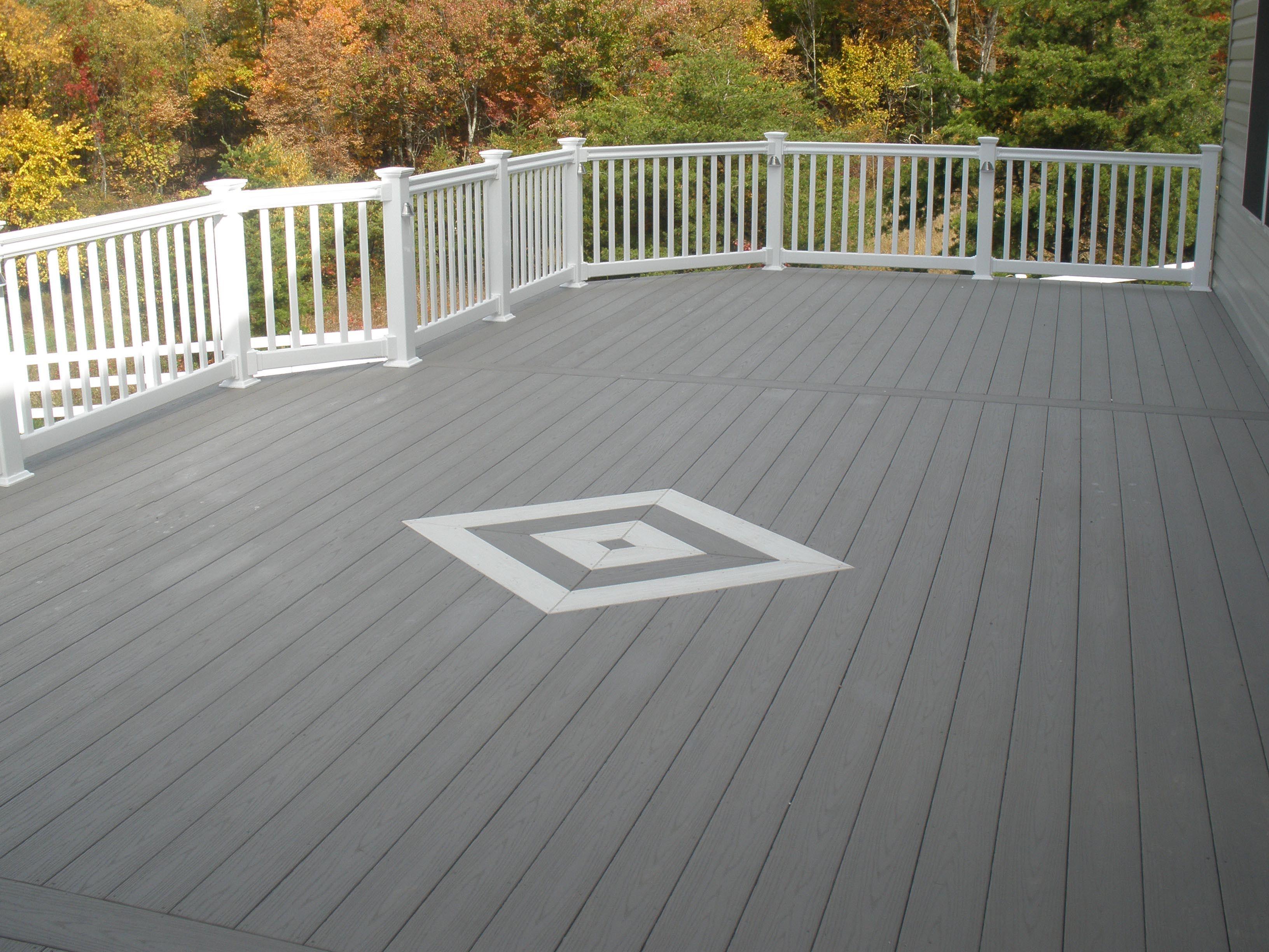White and gray wood porch gray white azek decking for Grey decking garden ideas