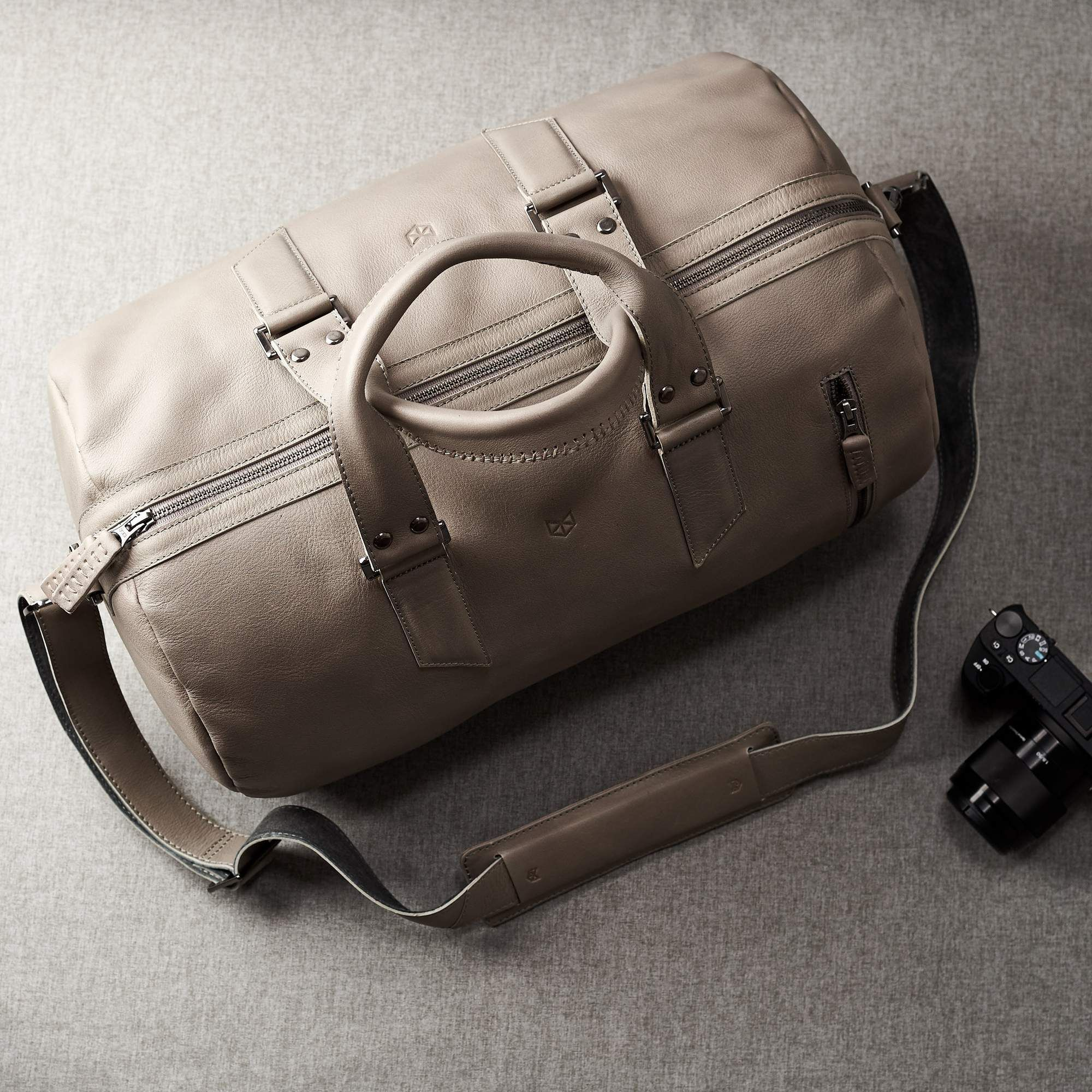 771bd6f4f71a SUBSTANTIAL LEATHER DUFFLE BAG    GREY by Capra - Capra Leather