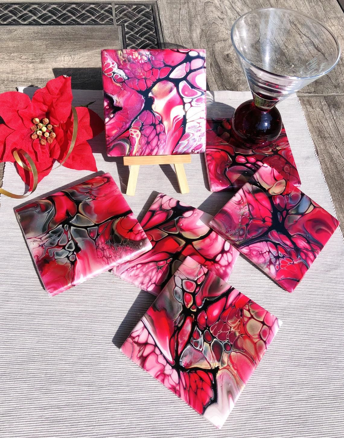 Red Gold Ceramic Coasters Set Of 6 Fluid Art Coasters Hostess Gift Christmas Gift For Her Functional Art Holiday Table Decor In 2020 Ceramic Coasters Gold Ceramic Holiday Table Decorations