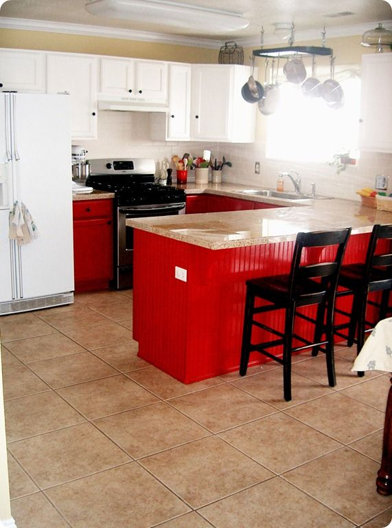 deep thoughts by cynthia | Red kitchen cabinets, Red ...