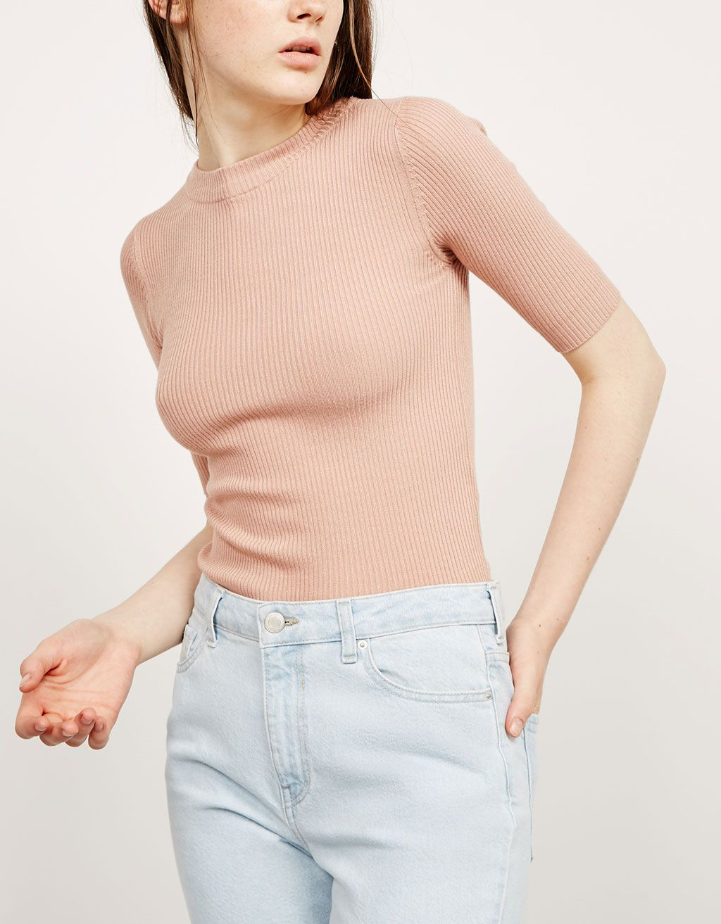 Round neck ribbed jumper - Tops - Bershka Indonesia