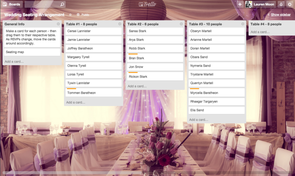 Using Trello to Plan a Wedding downloadable boards for planning