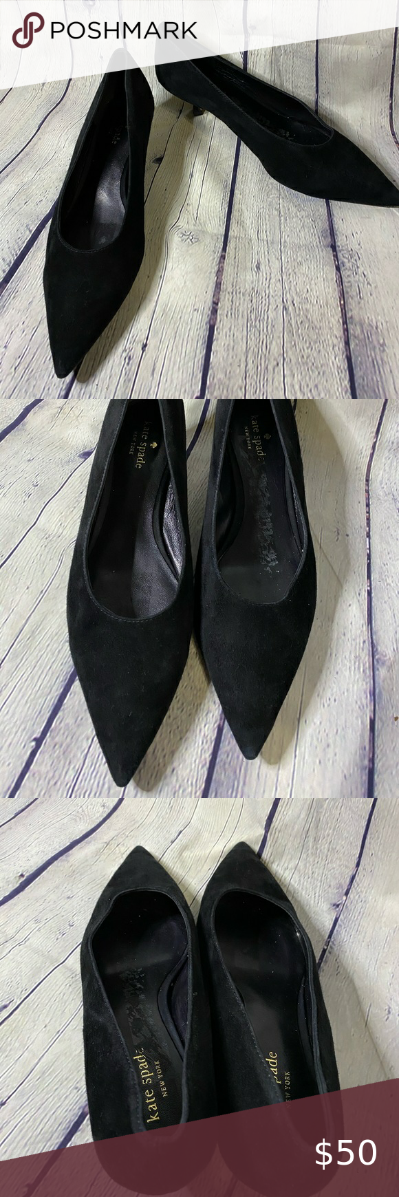 Kate Spade Black Microsuede Kitten Heel Pumps 9 5 In 2020 Kitten Heel Pumps Kitten Heels Pumps Heels