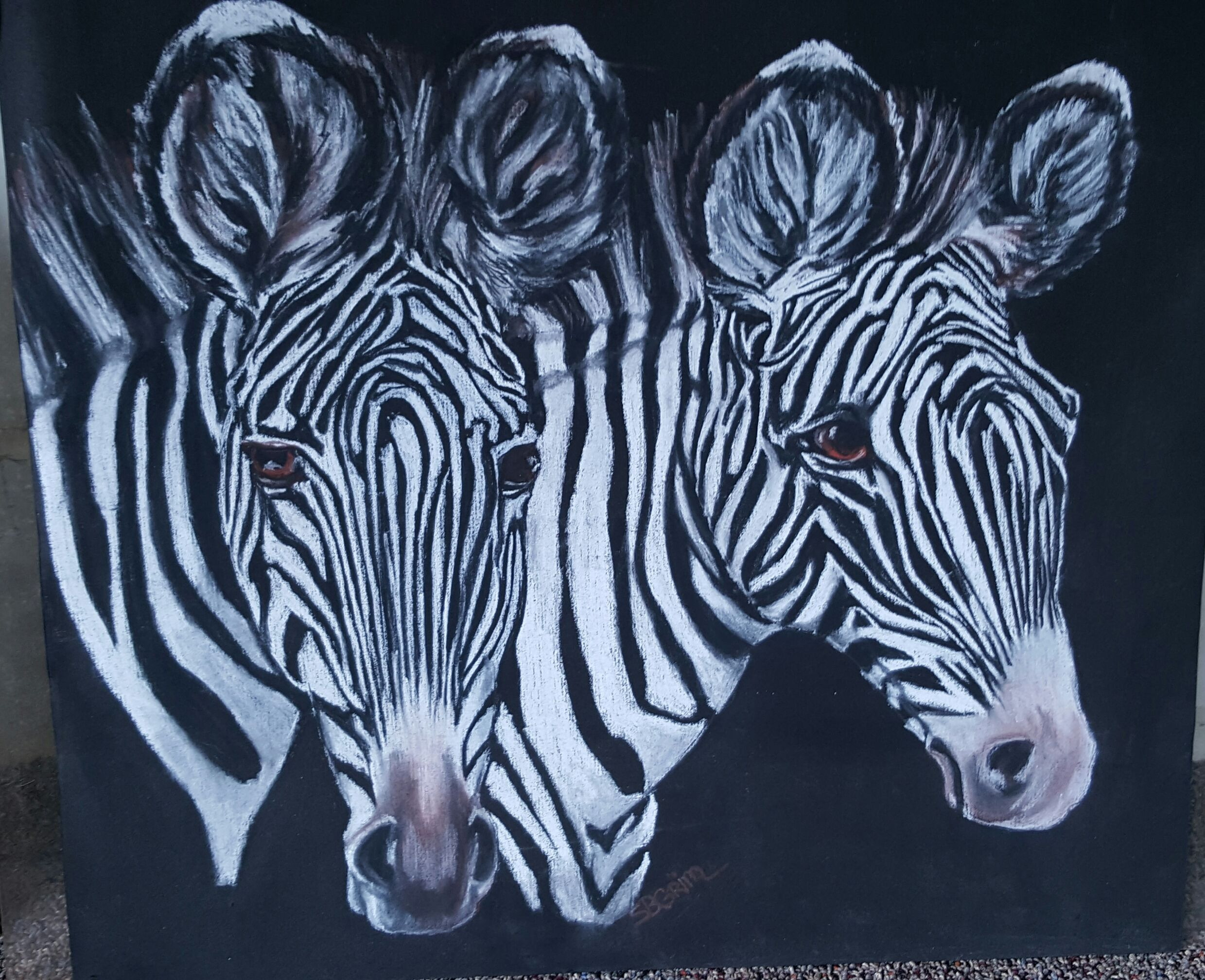 Stripes Pastels original artwork  by Susan Grim