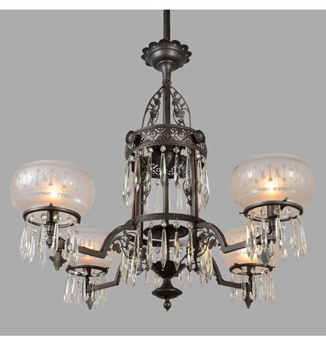 Beautiful restored fixture by rejuvenation large eastlake gasolier w crystal drops 1880s · vintage chandelierantique lightingdollhouse