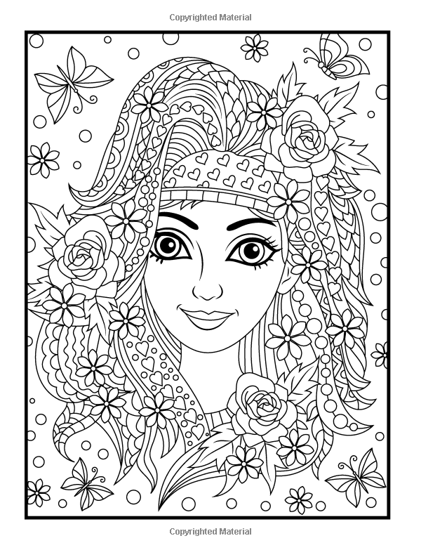 Amazon.com: Flower Girls: An Adult Coloring Book with Beautiful ...