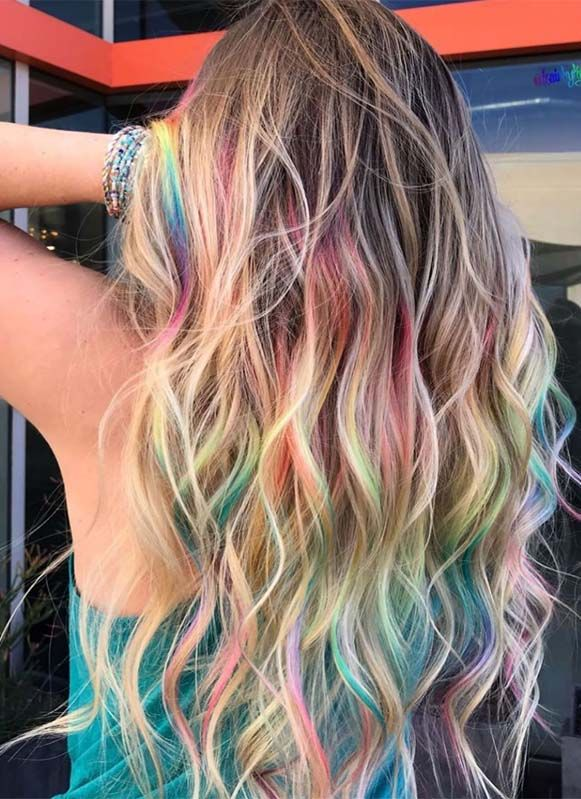 Obsessed Styles Of Rainbow Hair Colors To Show Off In Year 2019 With Images Rainbow Hair Color Peekaboo Hair Holographic Hair
