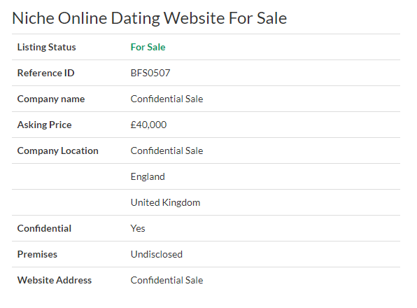 dating website business for sale