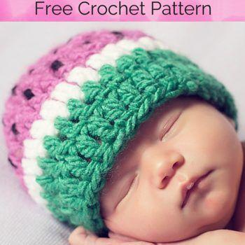 Baby Watermelon Hat Free Crochet Pattern | Crochet patterns ...