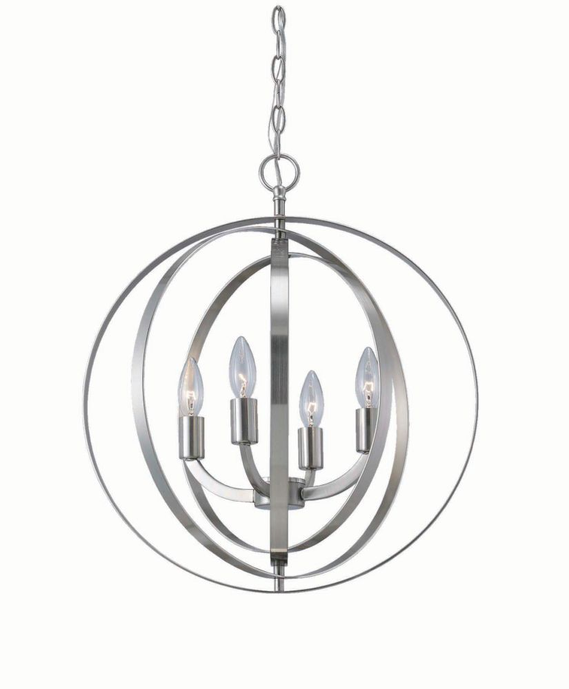 4 Light Brushed Nickel Sphere Chandelier