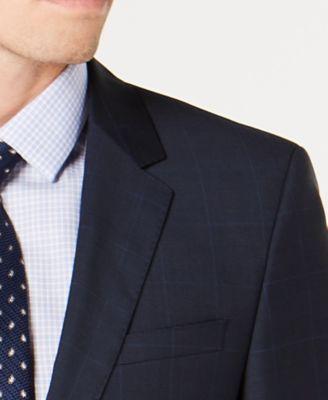 f2dfce8aa8b Hugo Boss Men s Slim-Fit Blue Plaid Wool Suit Jacket - Blue 38S ...