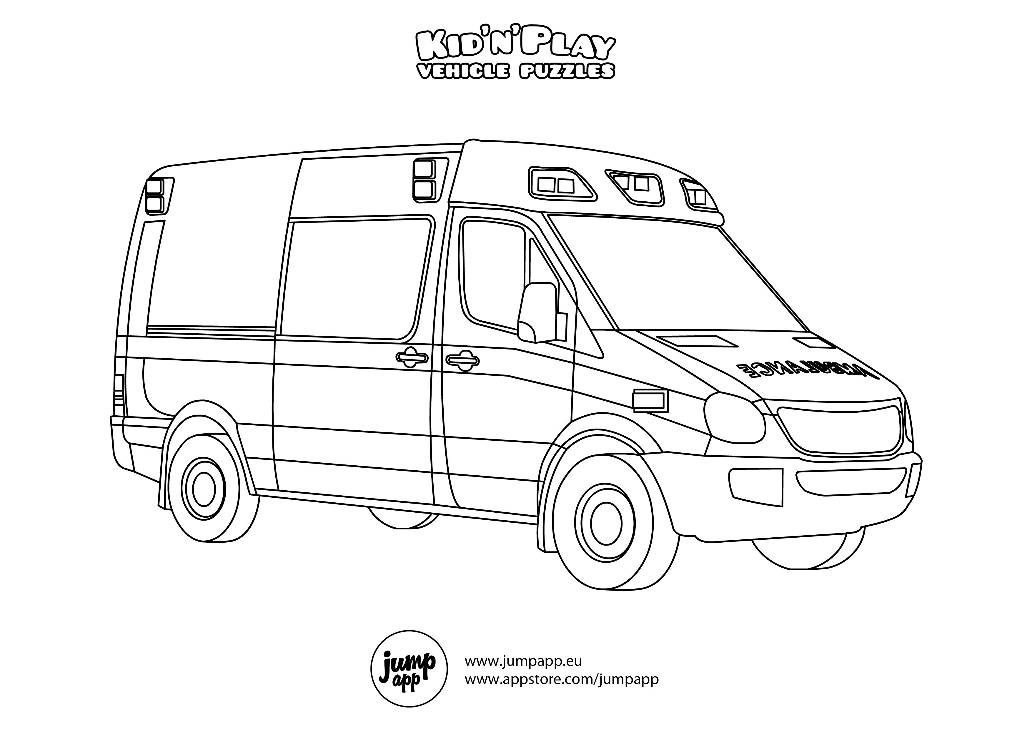 ambulance Truck coloring pages, Race car coloring pages