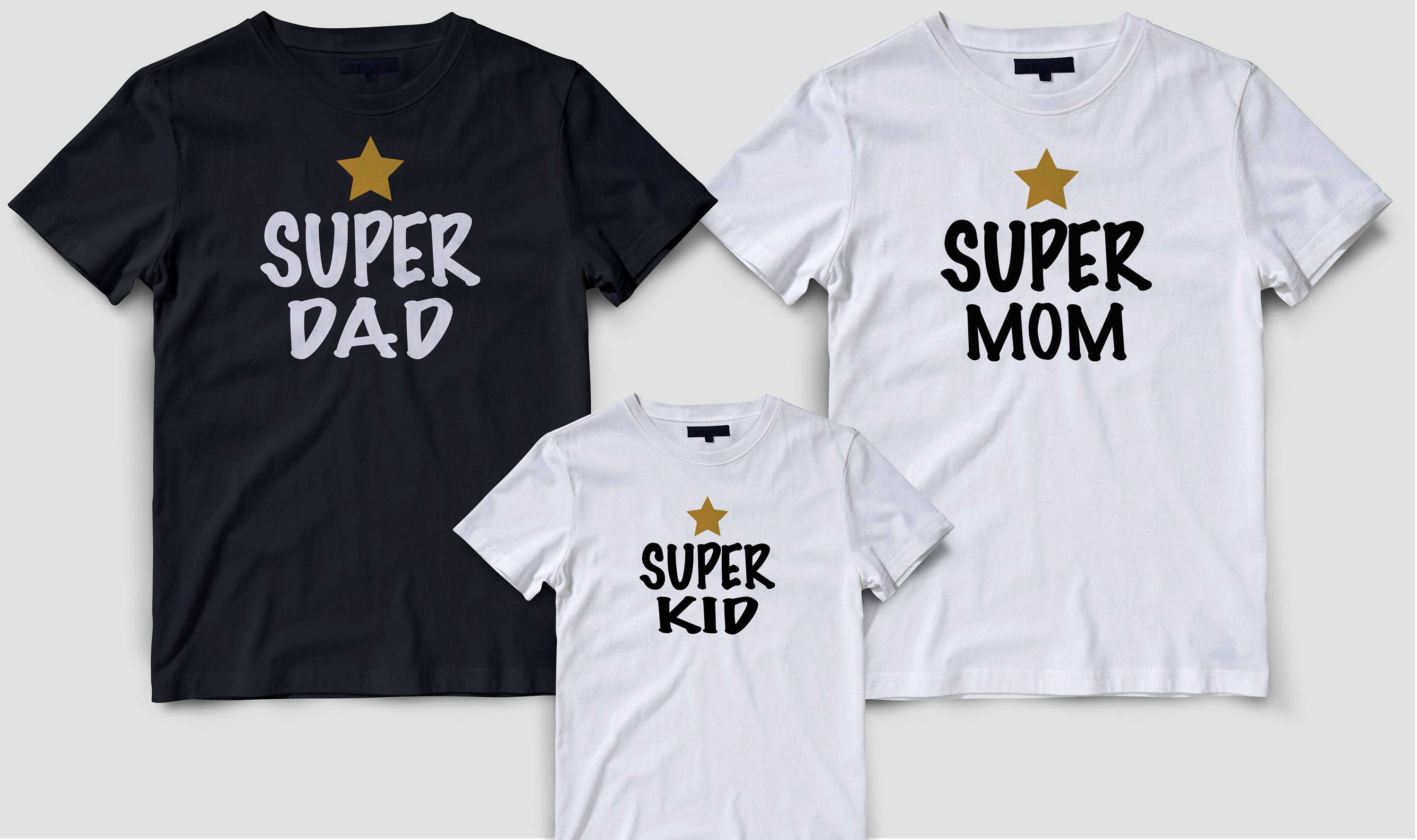 e117dfee Matching family t-shirts set, Family matching shirt, Mother father daughter  son shirts, Super mom super dad super kid couples matching set